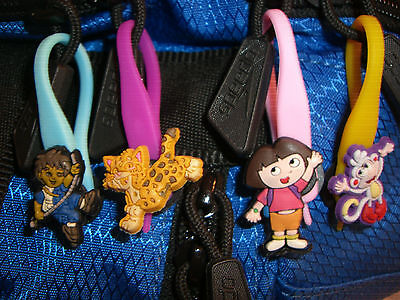4 Dora The Explorer Colorful Character Soft Zipper Pulls Charms Set for Backpack