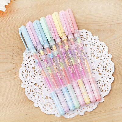 3pcs 6 Colors Highlighter Ink Gel Pen Marker Colorful Writing Painting Scrapbook