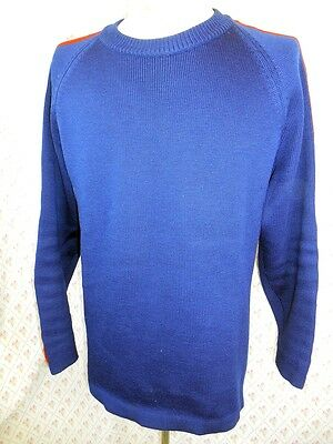 Vintage 70s Blue Red Pure Merino Wool Sovrano Australia Ski Jumper Sweater 42 L