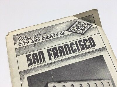 VINTAGE Map of California San Francisco State Historic Downtown Automobile Assoc