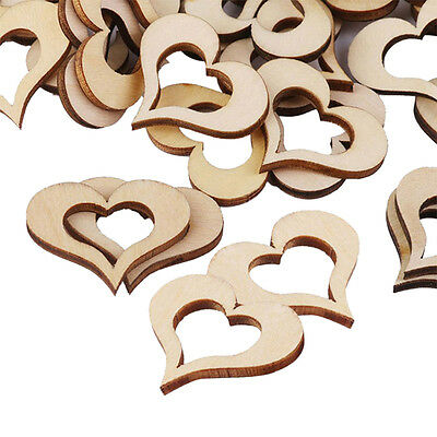 50pcs Wooden Wood Love Heart Mini Pieces Painting Craft Cardmaking Scrapbooking