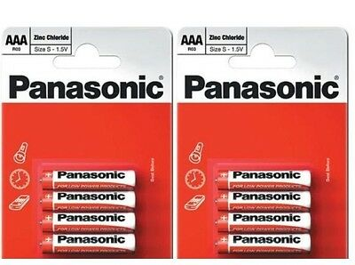 8 X Panasonic AAA Battery Batteries New Zinc Carbon 1.5V Exp +2Years