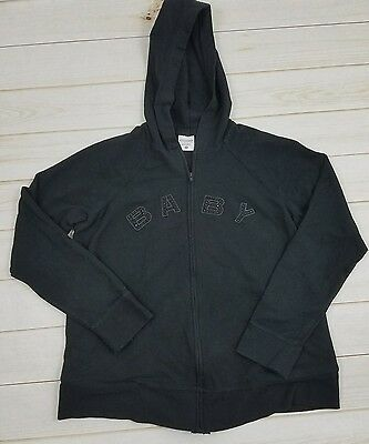 Motherhood Maternity Black Zip Embellished Front Hoodie, Size M