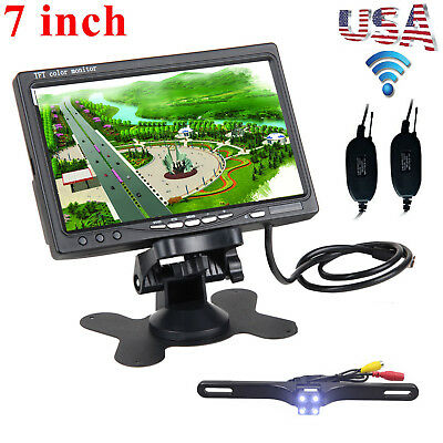 "2.4GHz Wireless HD Car Rear View 7"" Moniter + Night Vision Reverse Backup Camera"
