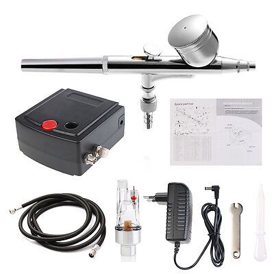 Precision Dual-Action AIRBRUSH AIR COMPRESSOR SET Craft Cake Hobby Paint KIT