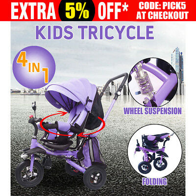 4 In 1 Folding Kids Ride-On Toys Baby Toddler Pram Tricycle Bike Trike Stroller