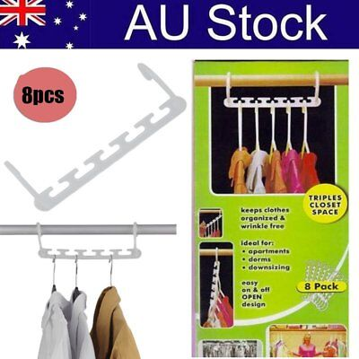 NEW 8Pcs Space Saving Magic Trousers Clothes Coat Hanger Clothes Organizer BS