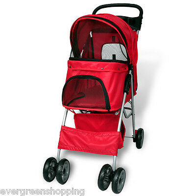Dog Stroller Pet Travel Pushchair Puppy Cat Pram Buggy With 4 Swivel Wheels Red
