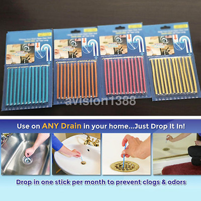 Hot Clean Sticks Drain Cleaner and Deodorizer, Unscented 12 stick / Pack US