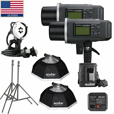 1200W 2x Godox AD600BM 600W HSS 1/8000s Outdoor Studio Flash Extra Head Softbox