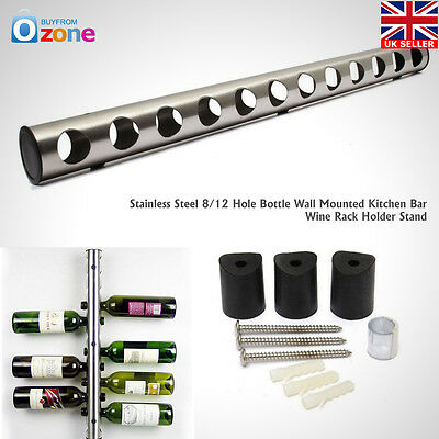 Stainless Steel 8/12 Hole Bottle Kitchen Bar Wine Wall Mounted Rack Holder Stand