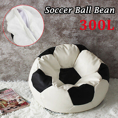 Football Soccer Ball Bean Shape Bag Indoor Outdoor Sofa Seat Chair Black