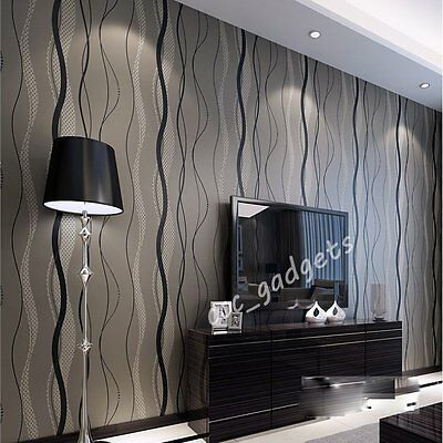 Modern Home Striped Waves Wallpapers Vinyl Featured Textured Sitting Living Room