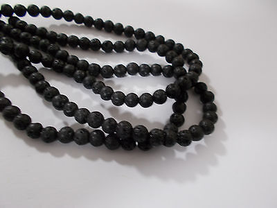 "60pcs 6mm NATURAL LAVA Black / Dark Grey Round Gemstone Stone Beads (15"" Strand)"