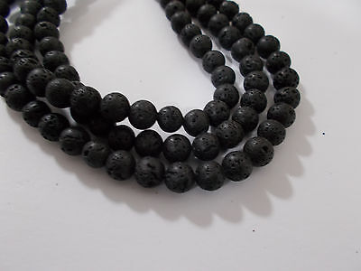 "47pcs 8mm NATURAL LAVA Black / Dark Grey Round Gemstone Stone Beads (15"" Strand)"