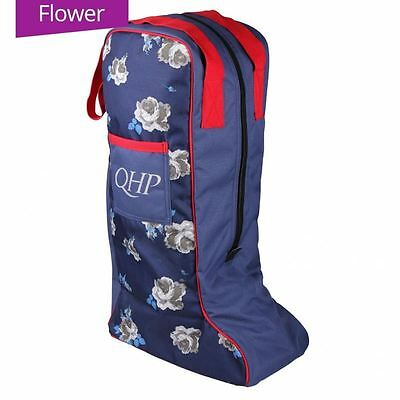 QHP Luxury Printed Ladies Mens Travel Equestrian Horse Riding Boot Bag