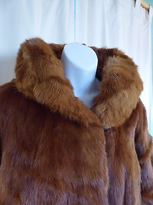 Retro copper coloured real mink fur jacket