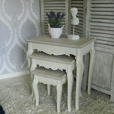 Cream Nest of Tables Country Furniture Lamp Table Shabby Vintage Chic Lounge