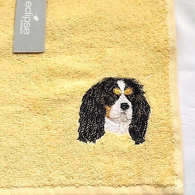 Cavalier King  Charles Spaniel Dog Embroidered Face Cloth Flannel, Dog Gift, kc