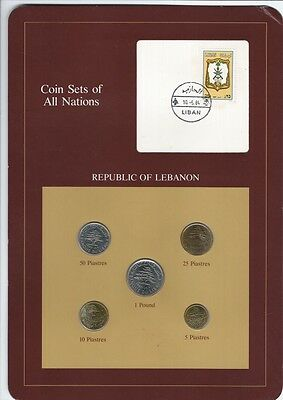 Republic Of Lebanon Coin Sets Of All Nations 5 Coins, Stamp Postmark 10-5-84