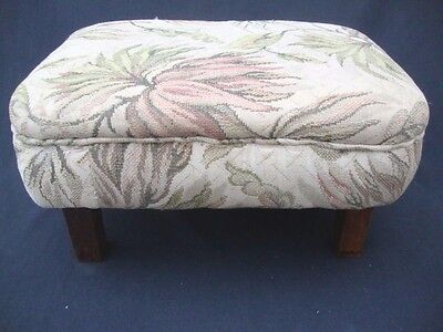 ANTIQUE upholstered Foot Stool Seat/Ottoman Bench Oak Legs Sturdy Accent Piece