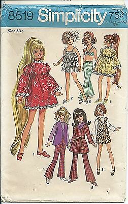 "S 8519 sewing pattern 17½"" Crissy Teen DOLL CLOTHES sew 60's retro chic WARDROBE"