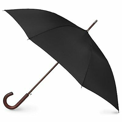 Men Women Travel Rain Umbrella Auto Open Wooden Stick Windproof Waterproof Black