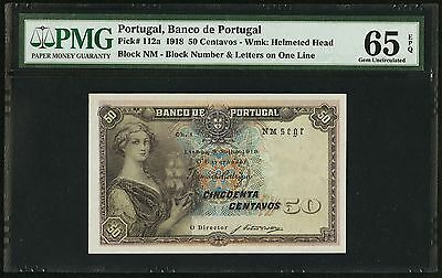 50 Centavos 1918 Banco De Portugal PMG 65 EPQ Gem Uncirculated