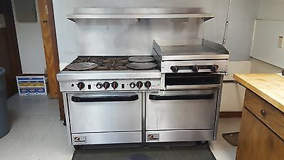 """SouthBend 60""""Range, Six Burner, 24"""" Raised Griddle/Broiler with Two Ovens"""