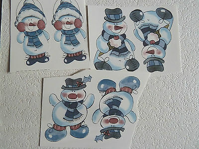 Ceramic Decal Christmas Snowman Ice cream Hat Scarf Ear Muffs 75mm or 20mm