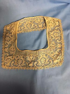 Antique Embroidered Lace Collar Square Neckline Ecru Tan Great Condition *SALE