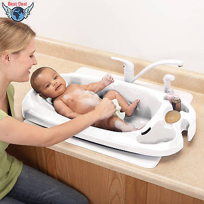 Safety And Health Comfortable Shower 1st Newborn to Toddler Bath Tub Baby White