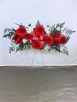 Wholesale Lot of 4 Memorial Day Cemetery Flowers Rose Spray 30 Inch Wire Stand