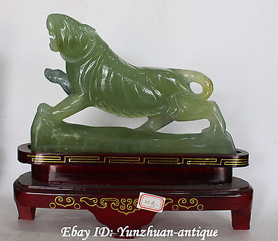 China Natural Jade Handwork Carving Feng Shui Up Hill Tiger Tigers Animal Statue