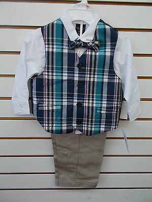 Toddler & Boys Nautica $59.50 4pc Plaid & Khaki Vest Suit 2T/2 - 7