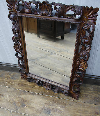 Antique Rococo Style French Wall Mirror, Oak Effect Ornate Carved Mirror