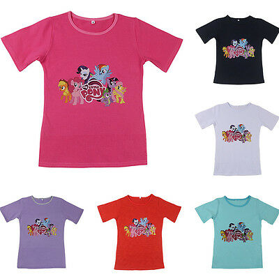 2016 New Cute Girl My Little Pony Printing Tops T-shirt Summer Cotton Shirt 1-9Y