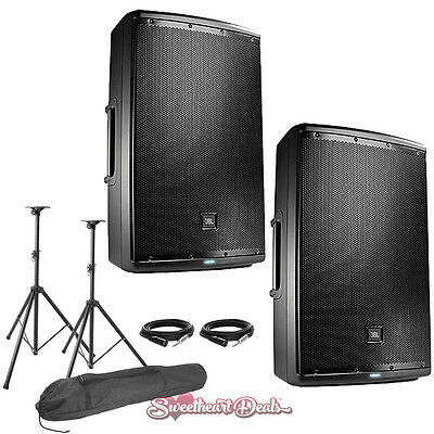 "JBL EON615 15"" Powered Active PA Loud Speakers Bundle - Live Sound Club DJ PA"