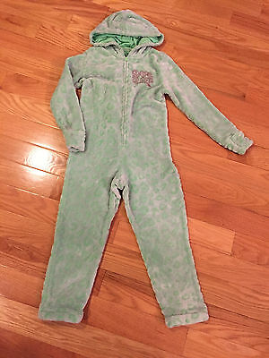 EUC Girl Boy Snap Front zippered Hooded Pajama Footie Romper JUSTICE Size 6/7