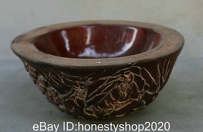 "5"" Antique Tibet Ox Bull Oxen horn Carved Eight Immortals Figures Pine Tree Bowl"