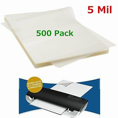 5 Mil 500 Pack Letter Size Thermal Laminator Laminating Pouches 9 X 11-1/2 Sheet