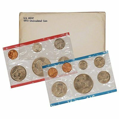 1973 P & D US Mint Set United States Original Government Packaging Box Cello
