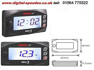 Motorcycle Time Clock & Volt meter white backlight waterproof case KOSO mini 3