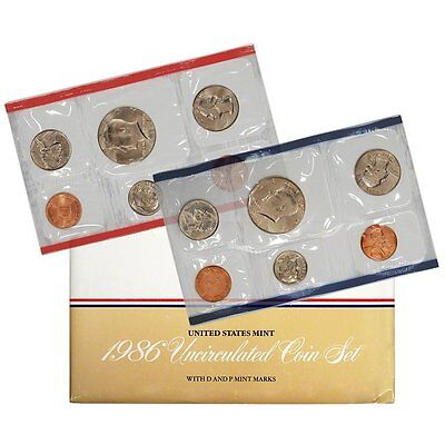 1986 P & D US Mint Set United States Original Government Packaging Box Cello
