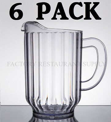 6 PACK Clear 60 Oz Plastic Round Bar Restaurant Beverage Serving Spout Pitchers