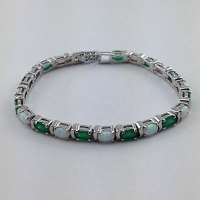 Stunning Art Deco Style Opal And Natural Emerald Bracelet 925 Sterling Silver