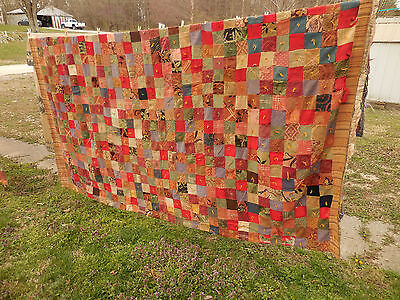 Antique Vintage Patchwork Comforter Quilt Top Unusual Upholstery Fabric 72 X 90