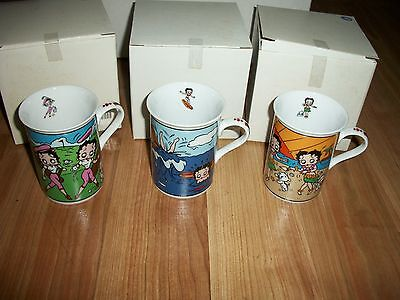 3- BETTY BOOP Danbury Mint Collector Cup Lot Surfer, Aloha Hawaii and Golf