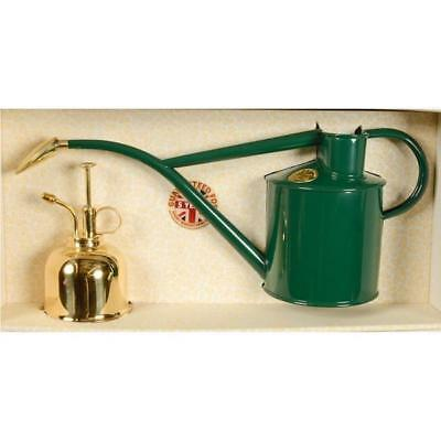 HAWS | 1lt Metal Watering Can and Brass Mist Sprayer Gift Box Set - Green