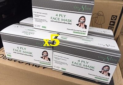 4 Ply Face Mask with Carbon Filter Lots of 5